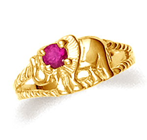 Elephant baby ring with red cubic zirconia in 10k or 14k yellow gold.