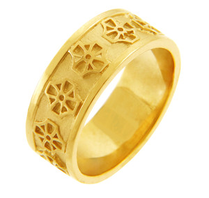 Gold Celtic Cross Wedding Band Ring.  Available in your choice of 14k or 10k Gold.