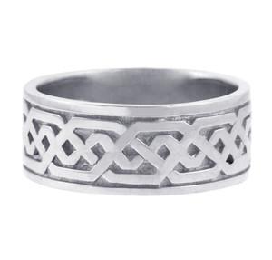 White Gold Celtic Knot Men's Wedding Ring Band