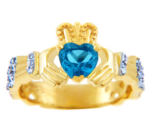 Gold Diamond Claddagh Ring with 0.40 Carats of Diamonds and a Blue Topaz Birthstone.  Available in 14k and 10k Gold.