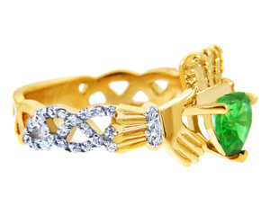 Gold Diamond Claddagh Ring with 0.40 Carats of Diamonds and a Peridot Birthstone.  Available in 14k and 10k Gold.