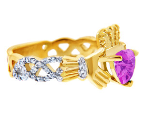 Gold Diamond Claddagh Ring with 0.40 Carats of Diamonds and a Pink Tourmaline Birthstone.  Available in 14k and 10k Gold.