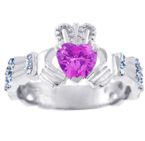 White Gold Diamond Claddagh Ring 0.40 Carats with Pink Tourmaline Stone