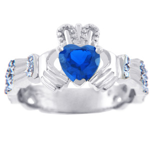White Gold Diamond Claddagh Ring 0.40 Carats with Sapphire Stone