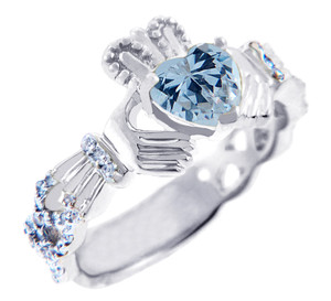 White Gold Diamond Claddagh Ring 0.40 Carats with Aquamarine Stone