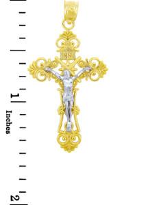 Two Tone Gold Crucifix Pendant - The Christ Crucifix