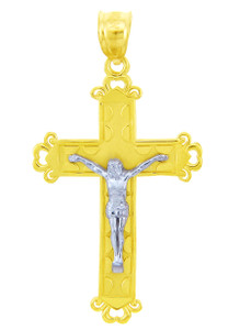 Two- Tone Gold Crucifix Pendant - The Christ Crucifix