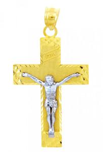 Two Tone Gold Crucifix Pendant - The INRI Crucifix