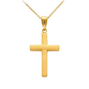 14K Gold Cross Pendant Necklace