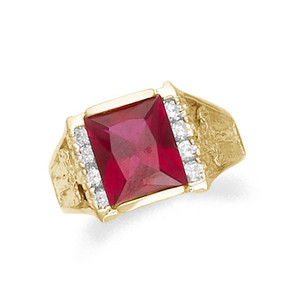Men's synthetic ruby and cz ring in 10k or 14k yellow gold.