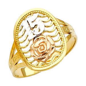 """""""15 Anos"""" Yellow Gold Tri-color Ring"""