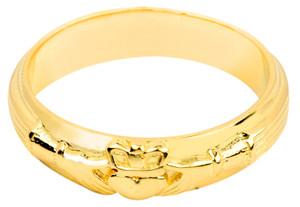 Gold Claddagh Wedding Band Mens Ring