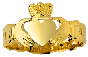 Gold Claddagh Ring Ladies with Trinity Band.  Available in 14k and 10k gold.