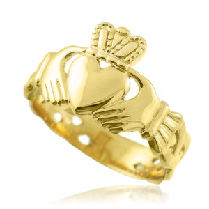 Men's Gold Claddagh Ring with Trinity Band Mens.  Available in 14k and 10k Yellow Gold.