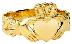 Claddagh Ring with Trinity Band Mens.  Available in 14k and 10k Yellow Gold.