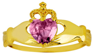 June birthstone alexandrite CZ Claddagh ring in gold.