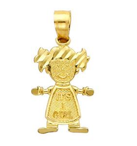 14K Gold Baby Girl Cutie Charm