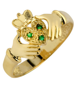 Gold Claddagh Ladies Ring with Emeralds
