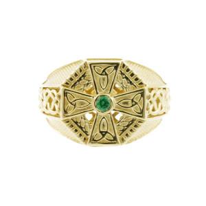 Yellow Gold Celtic Cross Green CZ Mens Emerald Ring