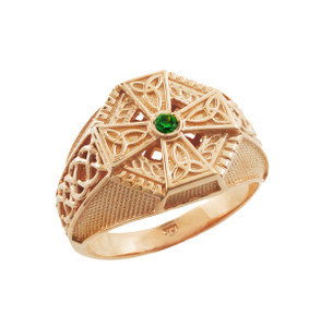 Rose Gold Celtic Cross Green CZ Mens Emerald Ring