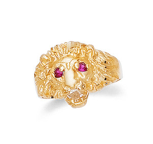 Gold Lion Head Ruby Cubic Zirconia Mens Ring