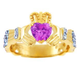 18K Yellow Gold Diamond Claddagh Ring with 0.4 Ct. Pink Tourmaline