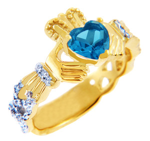18K Yellow Gold Diamond Claddagh Ring with 0.4 Ct Blue Topaz