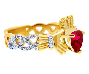 18K Yellow Gold Diamond Claddagh Ring With  0.4 Ct  Garnet