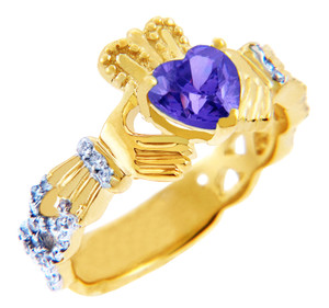 18K Yellow Gold Diamond Claddagh Ring With 0.4 Ct  Alexandrite