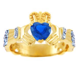 18K Yellow Gold 0.4 Ct Diamond Band Claddagh Ring With 1.10 Ct Genuine Blue Sapphire