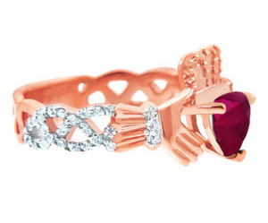 Rose Gold 0.4 Ct. Diamond Band Claddagh Ring With 1.10 Ct. Ruby Center Stone