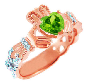 Rose Gold Diamond Claddagh Ring With 0.4 Ct Peridot