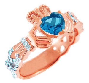 Rose Gold Diamond Claddagh Ring with 0.4 Ct. Blue Topaz
