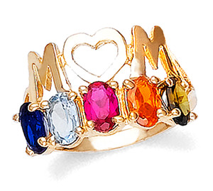 Gold Mom's Ring with 6 Oval Birthstones