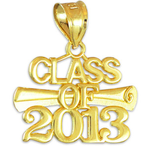 """CLASS OF 2013"" Graduation Gold Charm Pendant"