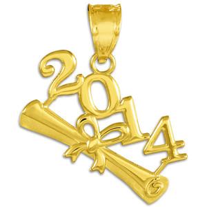 2014 Class Graduation Gold Charm Pendant