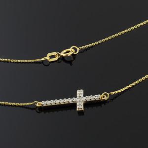 14K Gold Diamond Sideways Cross Necklace