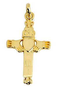 Gold Claddagh Cross Charm