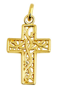 Celtic Irish Trinity Vine Cross Pendant
