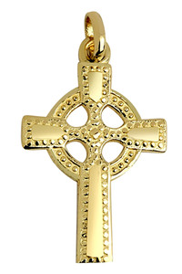 Gold Celtic Polished Cross