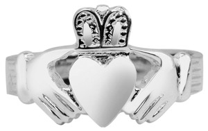 White Gold Classic Claddagh Ring Mens Solid