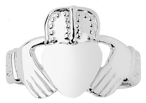 White Gold Claddagh Ring Mens 10K and 14K