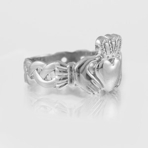 White Gold Mens Claddagh Ring with Trinity Band