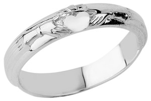 White Gold Claddagh Wedding Band Ring