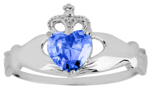 White Gold Claddagh Ring Ladies with Sapphire Birthstone.  Available in your choice of 14k or 10k White Gold.