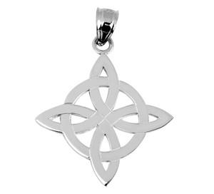 White Gold Irish Celtic Trinity Pendant-Necklace