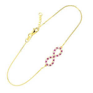 14K Gold Clear & Red CZ Infinity Bracelet