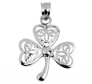 Celtic Clover Pendant White Gold