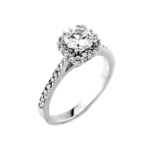 14k Gold CZ Solitaire Engagement Ring