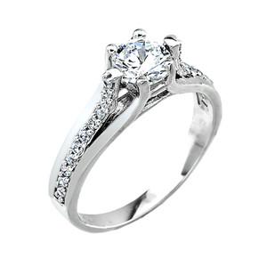 10k White Gold Engagement Wedding Ring